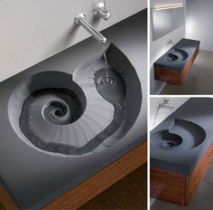 this reminds me a little of a fountain or sculpture in Darling Harbour. Though this is cooler. Sink Design, Bathroom Lighting, Sick, Bathroom Sink Design