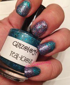 ColorMeSoCrazy  Glitzology- Teal-icious Jordana- Celebration Funky Fingers- Diva #glitzology #funkyfingers #jordana #nailpolish #indiepolish