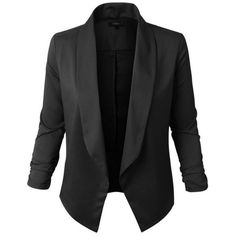 Jupe de Abby Lightweight Black Blazer (€36) ❤ liked on Polyvore featuring outerwear, jackets, blazers, coats, black, light weight blazer, thin jackets, lightweight jackets, blazer jacket and 3/4 sleeve blazer