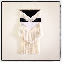 dreamcatcher weaving : black and white geometric / handwoven wall hanging art tapestry on Etsy, $200.00 CAD
