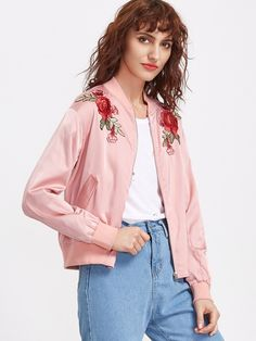 Shop Pink Embroidered Rose Applique Zip Up Bomber Jacket online. SheIn offers Pink Embroidered Rose Applique Zip Up Bomber Jacket & more to fit your fashionable needs.
