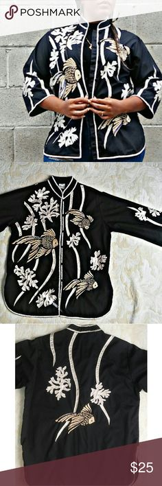 🔥🔥Vintage embroidered orient inspired jacket🔥🔥 OMG! This, Caro of Honolulu, jacket is amaxzing! White piping w/smock neck line. Embroidered fish w/sequence!!! 💙💙💙 caro of honolulu Tops Button Down Shirts