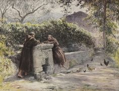 The repast of St Francis and Friar Masseo at the fountain. St Francis praises poverty