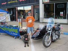 "This is Bertha ""Biker"" Dog with Joe Jones and her Harley Sportster with a California sidecar."