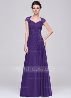 A-Line/Princess Sweetheart Floor-Length Chiffon Mother of the Bride Dress With Ruffle Lace Beading Sequins (008056888) - JJsHouse