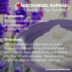 The best DIY projects & DIY ideas and tutorials: sewing, paper craft, DIY. DIY Skin Care Recipes : Archangel Raphael Lavender After Sun Relief. For soothing relief after a day in the sun apply directly to skin and allow to dry; Essential Oil Uses, Essential Oil Diffuser, Archangel Raphael, Raphael Angel, Doterra Oils, Diffuser Blends, Aloe Vera Gel, Diy Skin Care, Natural Healing