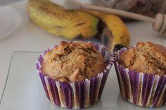 Muffins de Banana com Farinha Integral, Amêndoas e Mel