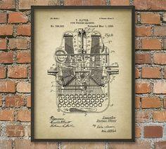 Typewriter Patent Print  Vintage Mechanical by QuantumPrints