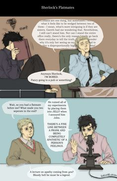 Sherlock's flatmates by inklou.deviantart.com on @deviantART Oh my goodness, this is great