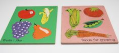 Set of 2 Vintage Wooden Playskool Puzzles - Fruits and Veggies - Pink and Green - Great Gift!