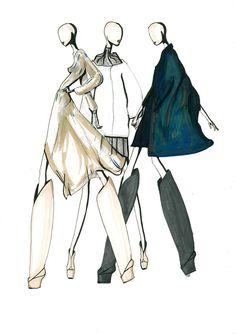 Iris van Herpen fashion illustration winter 14/15 made by Floris Felix for Now Fashion.