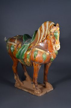 Chinese Tang Dynasty Sancai glazed model of horse