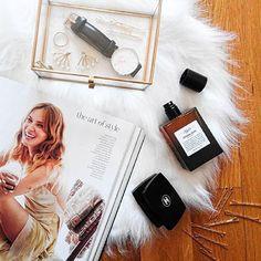 Daniel Wellington watch, Kiehl's original musk perfume, Chanel eyeshadow. #flatlay #beauty @sabinabotica Instagram photo