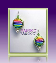 Rainbow Polymer Clay Pearl Earrings with Swarovski crystals by BeadazzleMe in my Etsy Shop