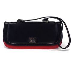Pre-owned Stuart Weitzman Red & Black Leather Baguette ($99) ❤ liked on Polyvore featuring bags, handbags, shoulder bags, leather handbags, preowned handbags, real leather handbags, genuine leather shoulder bag and leather shoulder handbags
