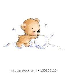 Bear Making a Snowball by Anna Abramskaya Illustration Mignonne, Illustration Noel, Christmas Illustration, Christmas Doodles, Diy Christmas Cards, Christmas Art, Christmas Decorations, Xmas Drawing, Christmas Drawing