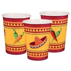 Mexico papieren bekertjes 6 stuks. Zes vrolijk gekleurde papieren bekertjes met Mexicaanse plaatjes van hete pepers en samba ballen. De Mexicaanse bordjes hebben een inhoud van 25 cl.