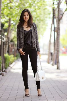 leather top with skinny jeans