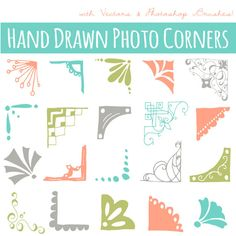 Colored Photo Corners Clip Art // Hand drawn by thePENandBRUSH, $8.00