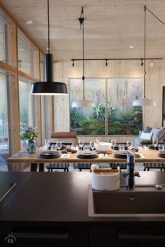 Dining Area, Kitchen Dining, Dining Room, Cabins In The Woods, Log Homes, Cottage, House Design, Interior Design, Architecture