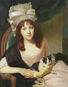 Sophia Dumergue and her cat     oil painting, c. 1780   Johann Zoffany