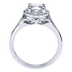18k White Gold Victorian Style  Halo Engagement Ring