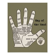 Palm reader map of the hand poster Talk To The Hand, Palm Of Your Hand, Palm Hand, Hand Lines Meaning, Palm Reading Charts, Prosperity Spell, Witchcraft Books, Spiritual Prayers, Map Canvas