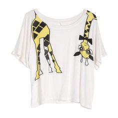 Nerdy Giraffe Tee ($20) ❤ liked on Polyvore