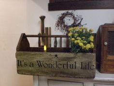 Primitive Old Large Wooden Tool Box ~ It's A Wonderful Life ~ Wood