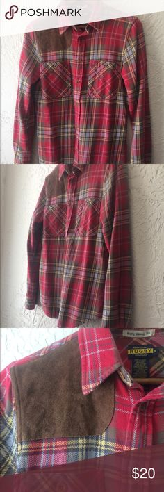 Red and brown rugby flannel High quality, durable Ralph Lauren Rugby brand flannel button down. Fits a little snug, not the best for girls with D+ boobs (which is why I'm selling sadly). Rugby Ralph Lauren Tops Button Down Shirts