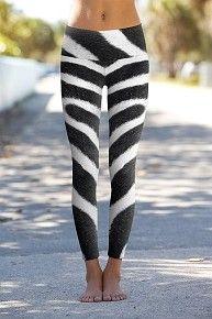 Zebra Skin - Printed Performance yoga Leggings available online at OmShantiClothing.com #Namaste