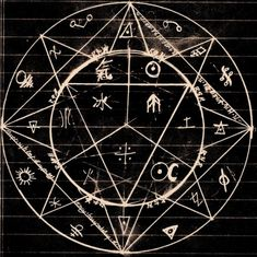 IDEA: Silk batik designs of sacred/ancient geometry and symbols; then silk dyed in shapes. 'Alchemy Circle by Alchemist-Pac' Occult Symbols, Occult Art, The Occult, Mystic Symbols, Pseudo Science, Mystique, Magic Circle, Book Of Shadows, Halloween Ideas