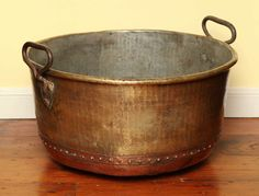 Large Scale Hand Hammered and Riveted Copper & Brass Log Bucket c.1860 2