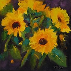 Just Sunflowers by Paula Riley Oil ~ 12 x 12