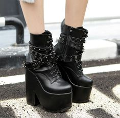 Women rivet lace up platform high chunky punk motor nightclub shoes ankle boots Shoes Wedges Boots, Wedge Shoes, Combat Boots, Ankle Boots, Heel Boots, Punk Shoes, Boot Shop, Platform Boots, Winter Shoes