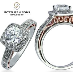 Just #SayYes to this stunning #vintage inspired white and rose gold diamond engagement set. This #engagement ring features a diamond halo with a round center #diamond and pink gold filigree details on the profile. Visit your local #GottliebandSons retailer and ask for style number 29456. http://www.gottlieb-sons.com/bridal/engagement-rings/29456
