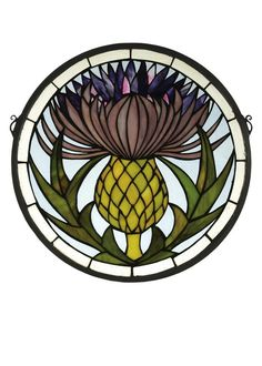 """Meyda 28436 - 17""""W X 17""""H Thistle Stained Glass Window #StainedGlasses"""