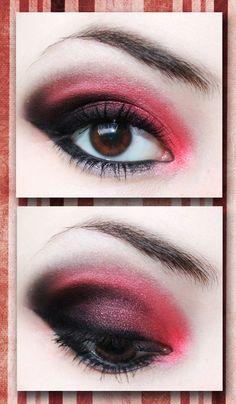 eye makeup , eye shadow , eye liner , mascara , black , red , smokey