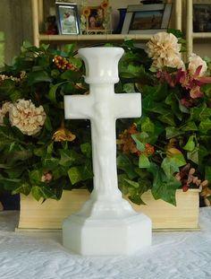 Milk Glass Alter Crucifix Candle Holder Catholic Crucifix Cross Tall Candlestick Holder by LandofBridget on Etsy