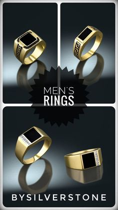 by BySilverStone Earring Trends, Jewelry Trends, Gents Ring, Men Rings, Black Onyx Ring, Square Rings, Unique Rings, Gold Rings, Women Jewelry
