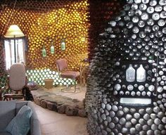 house constructed from recycled bottles