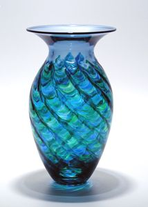 """Optic Ribbed Vortex Vase: Ocean""