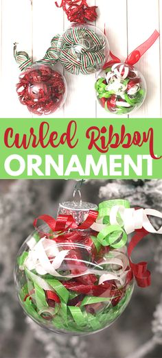 These curled ribbon ornaments are so festive and pretty, it's hard to believe they're so easy that you can make them in just minutes! Diy Christmas Ornaments, Handmade Christmas, Christmas Decorations, Christmas Ideas, Fun Crafts To Do, Crafts For Kids, Craft Activities For Kids, Family Activities, Winter Holidays