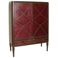 French 1930s Leather Cabinet in the Manner of Andre Groult 1