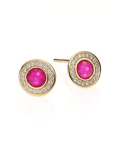 Ippolita Lollipop Ruby, Diamond & 18K Yellow Gold Mini Stud Earrings on shopstyle.com