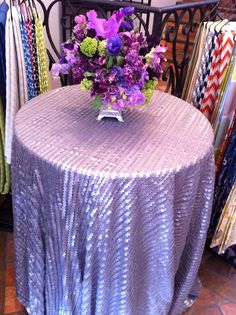 New Leather Sequin table cloth by La Tavola- Love the purple
