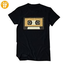 Kassette Tape Retro 80er Fun T-Shirt Herren XXXXX-Large Schwarz (*Partner-Link)