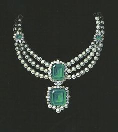 Project of jewellery set in emeralds and pearls for a princely mariage in Riyadh by Leysen Brussels.