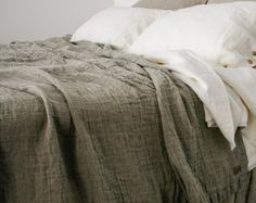 LINEN COVERLET with two ruffles. Linen bedspread dust by mooshop