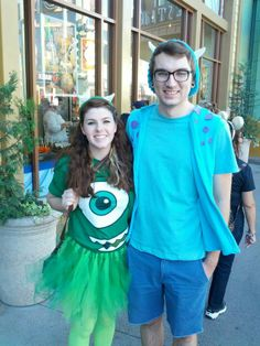 my boyfriend and me as Mike and Sully from moster's inc. for Halloween!!!!  super easy and fun costumes to make! very casual costumes